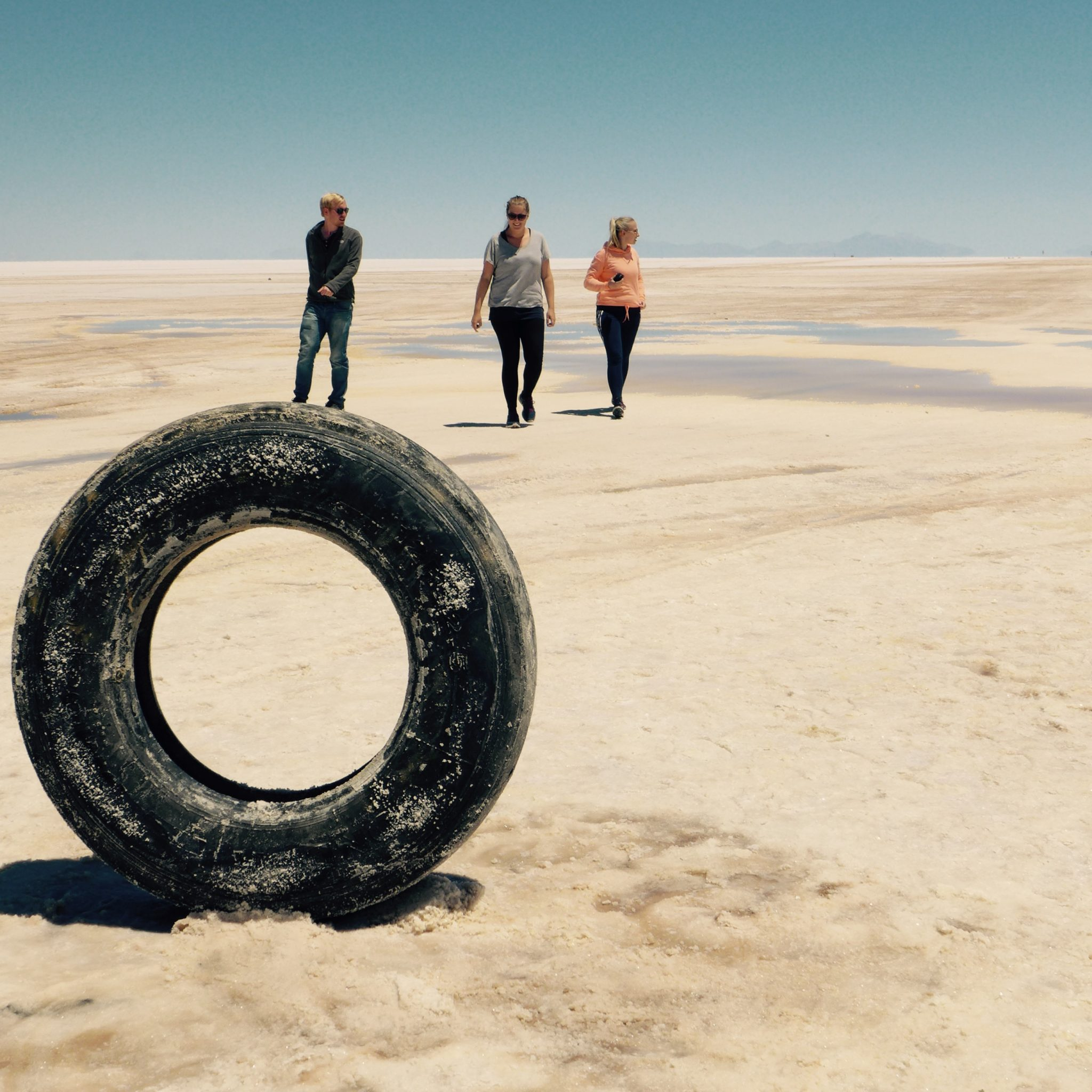 back online! The three authors in the Uyuni desert
